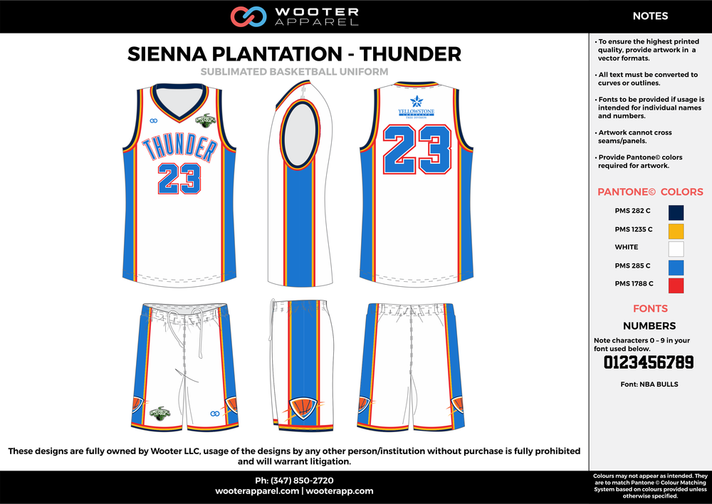 THUNDER white blue yellow red Basketball uniforms jerseys shorts