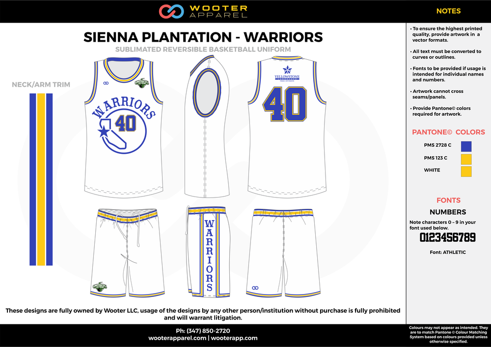 WARRIORS blue white yellow Basketball uniforms jerseys shorts