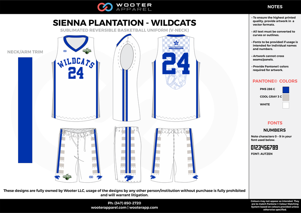 WILDCATS  white blue gray Basketball uniforms jerseys shorts