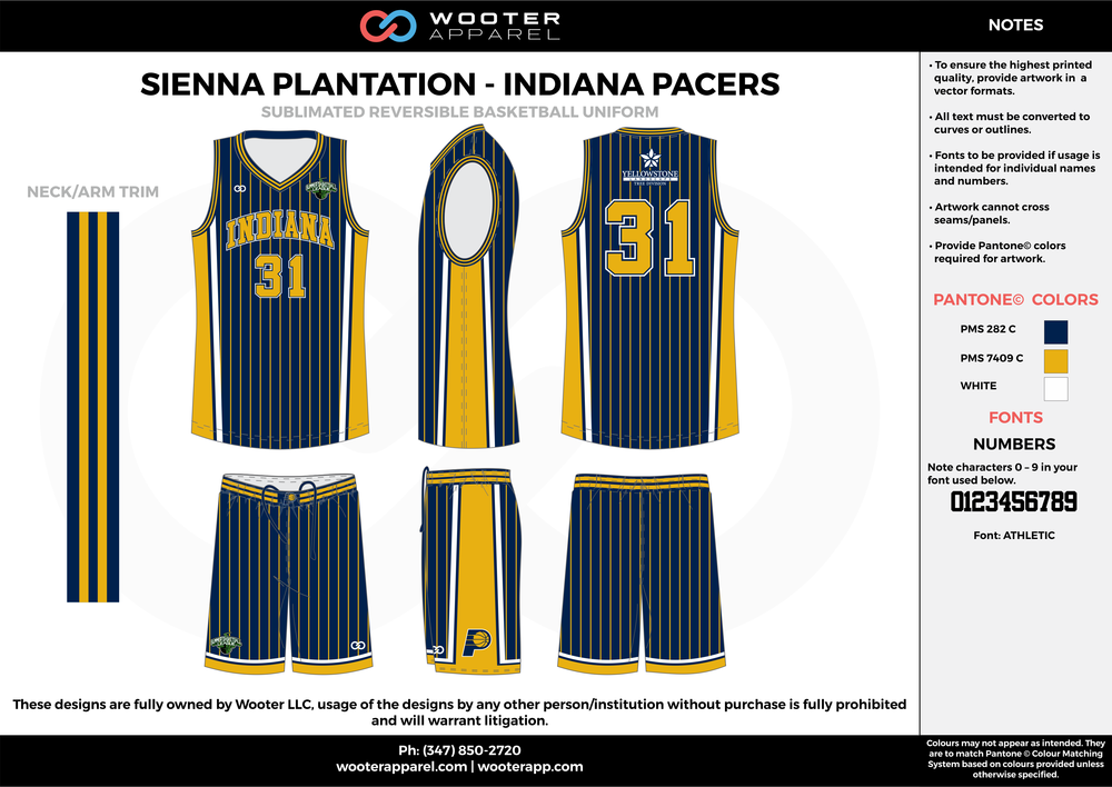 INDIANA PACERS navy blue yellow white Basketball uniforms jerseys shorts