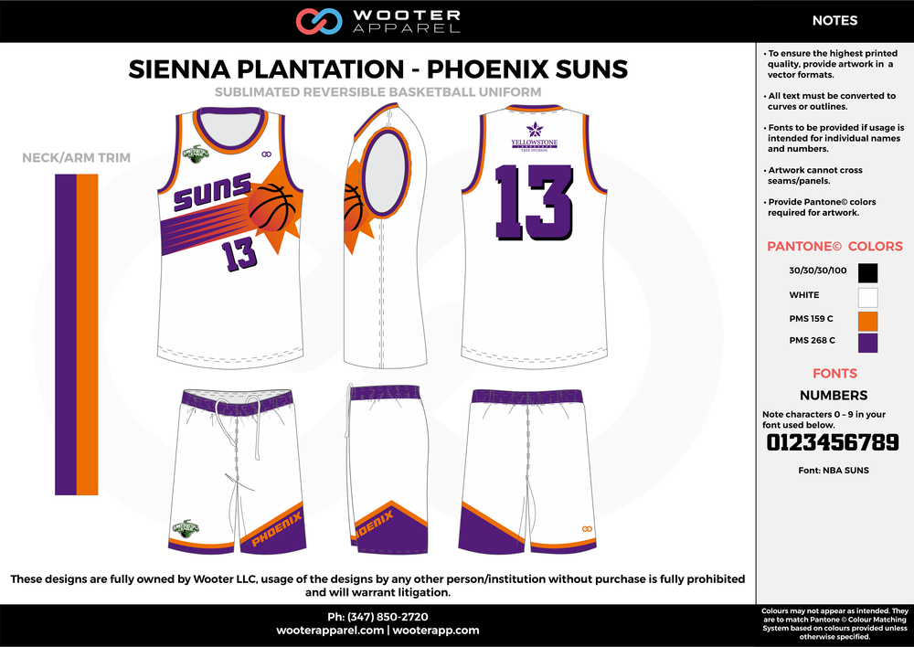 PHOENIX SUNS white purple orange Basketball uniforms jerseys shorts