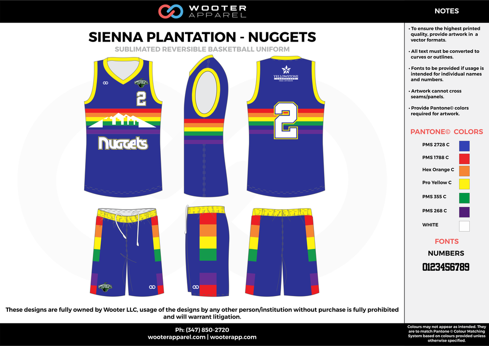 NUGGETS blue red yellow green orange white Basketball uniforms jerseys shorts