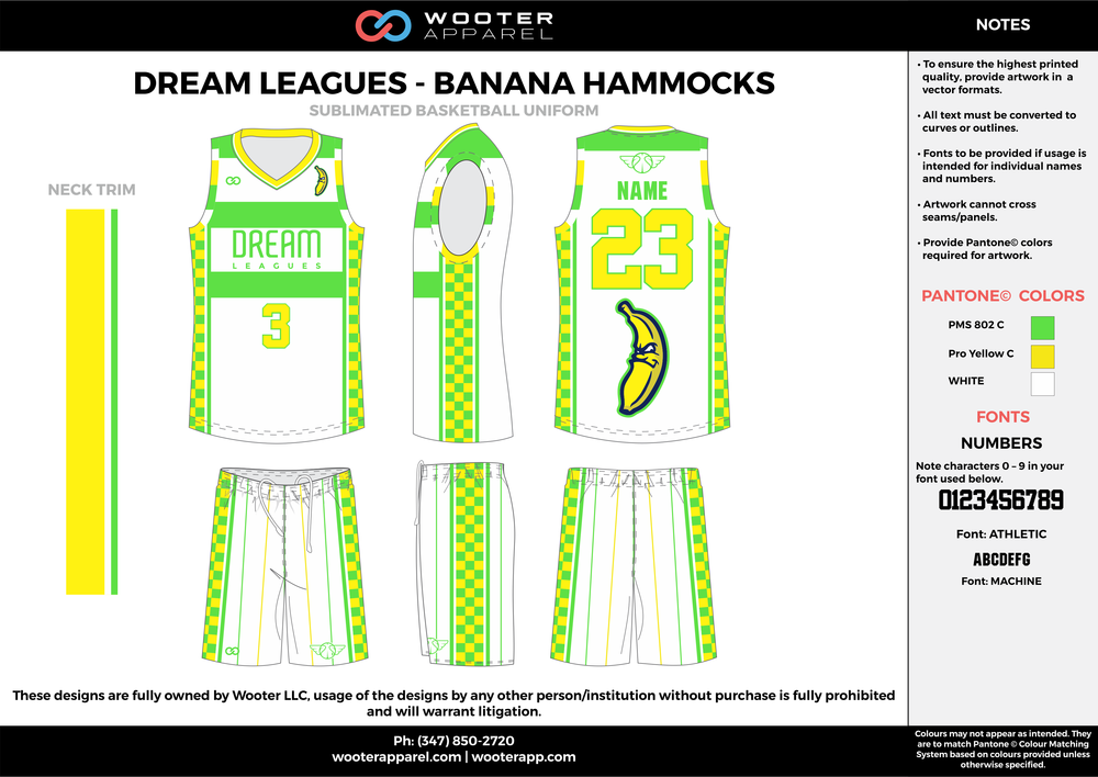DREAM LEAGUES - BANANA HAMMOCKS white green yellow Basketball uniforms jerseys shorts