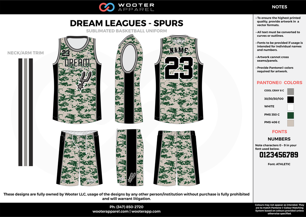 DREAM LEAGUES - SPURS gray black white Basketball uniforms jerseys shorts