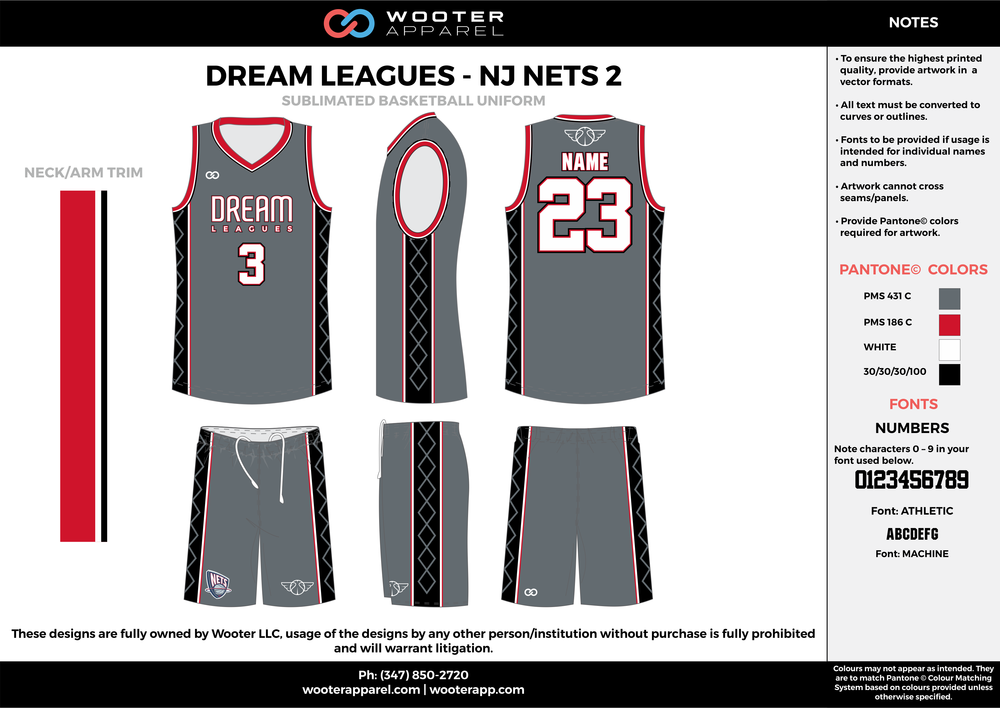 DREAM LEAGUES-NJ NETS 2 gray red black white Basketball uniforms jerseys shorts