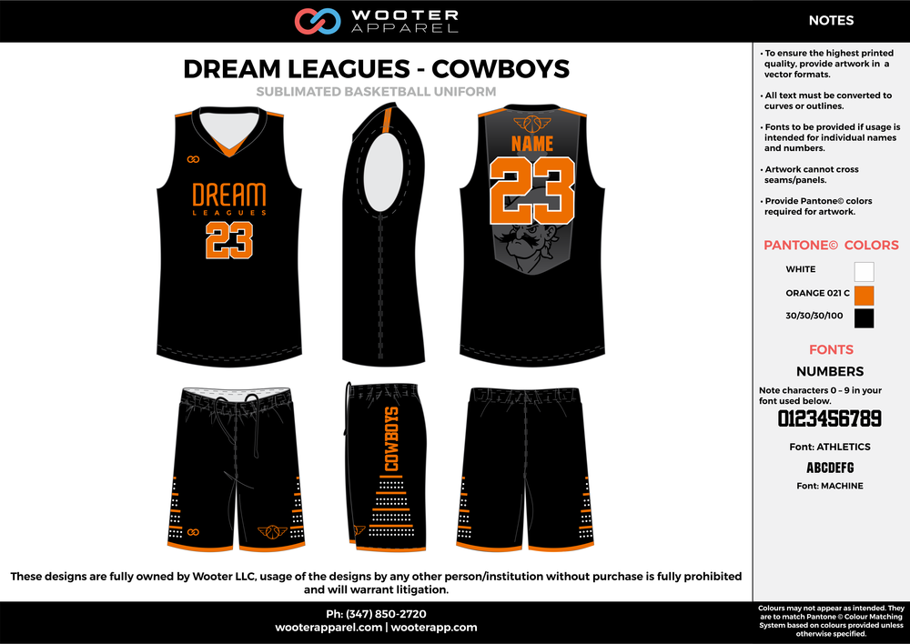 DREAM LEAGUES- COWBOYS black orange gray Basketball uniforms jerseys shorts