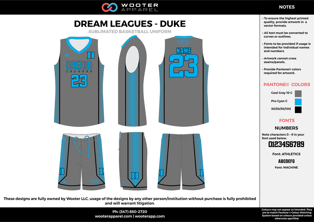DREAM LEAGUES - DUKE gray blue black Basketball uniforms jerseys shorts