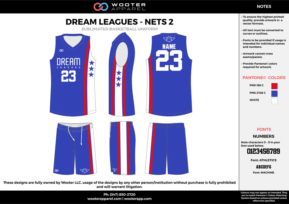 DREAM LEAGUES - NETS 2 blue red white Basketball uniforms jerseys shorts