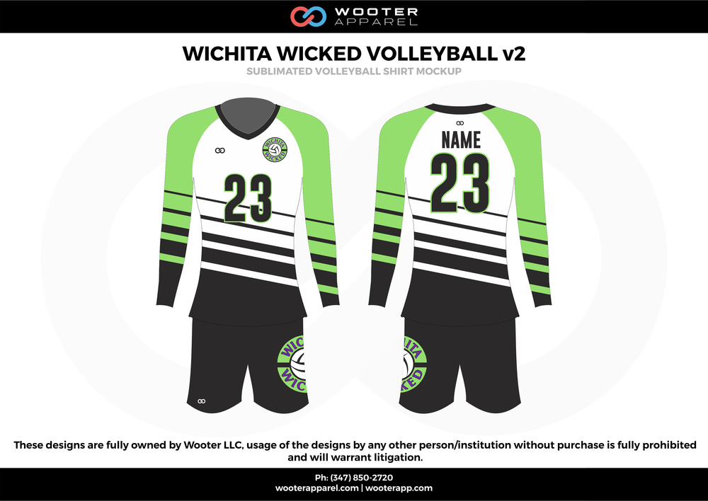 WICHITA WICKED VOLLEYBALL v2  green black white gray Volleyball Uniforms, Long sleeve Jerseys, Shorts