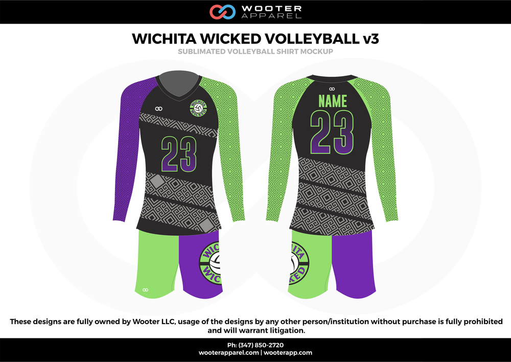 WICHITA WICKED VOLLEYBALL v2  purple green black gray Volleyball Uniforms, Long sleeve Jerseys, Shorts