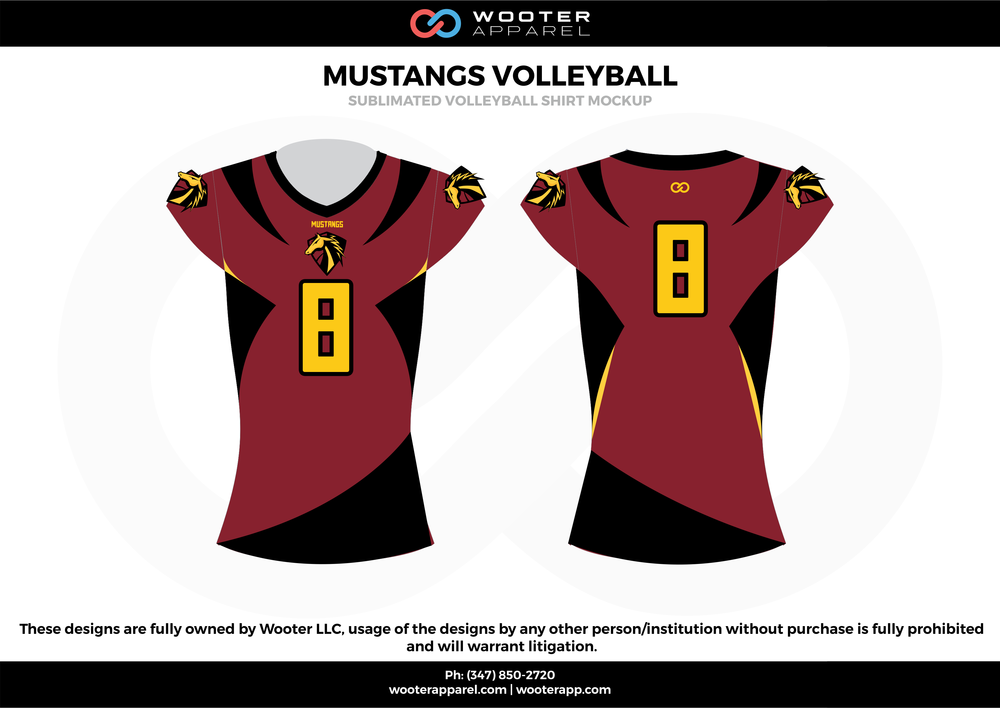 MUSTANGS VOLLEYBALL wine red black yellow Volleyball Uniforms, Jerseys, Shorts