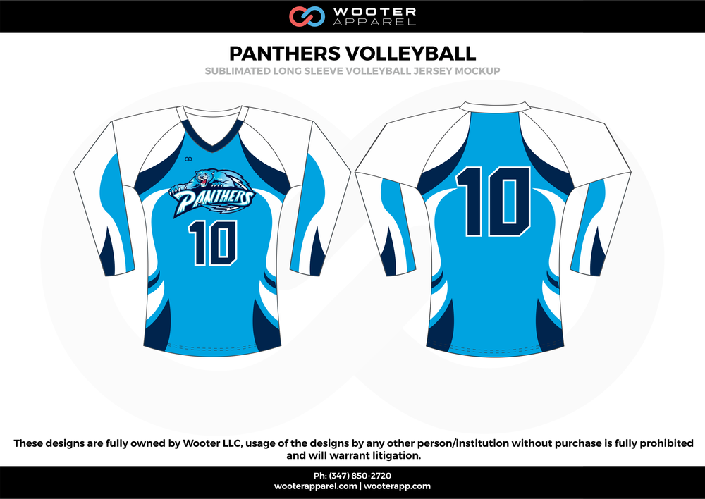 PANTHERS VOLLEYBALL sky navy blue white Volleyball Uniforms, Long sleeve Jerseys, Shorts