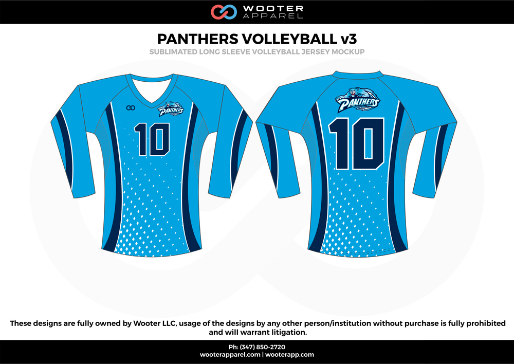 PANTHERS VOLLEYBALL v3 sky navy blue Volleyball Uniforms, Long Sleeve Jerseys, Shorts