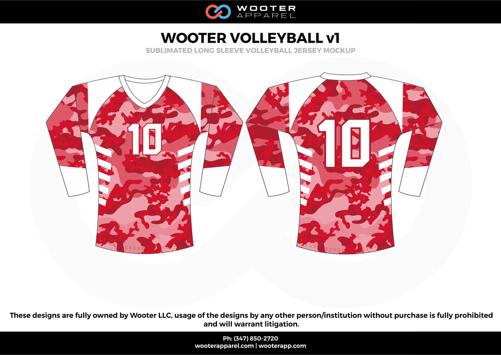 WOOTER VOLLEYBALL v1 red white Volleyball Uniforms, Long Sleeve Jerseys, Shorts