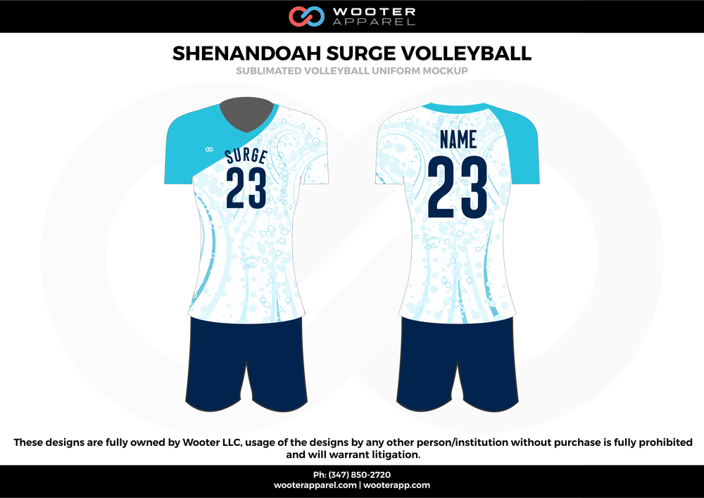 SHENANDOAH SURGE VOLLEYBALL sky navy blue white Volleyball Uniforms, Jerseys, Shorts