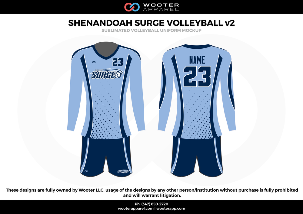 SHENANDOAH SURGE VOLLEYBALL v2  sky navy white Volleyball Uniforms, Long sleeve Jerseys, Shorts