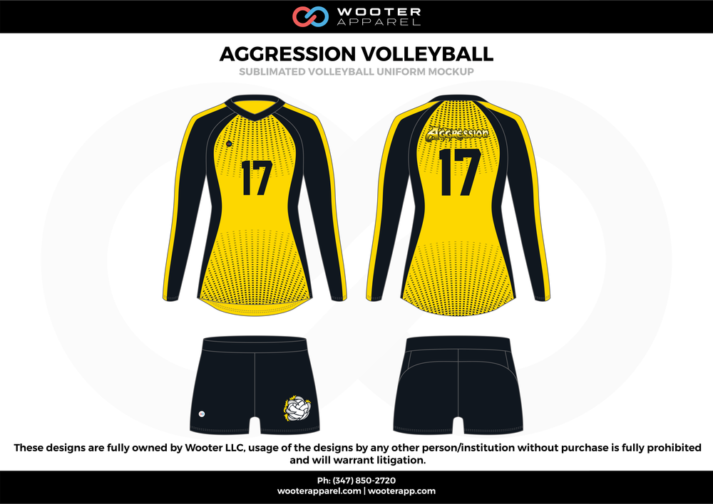 AGGRESSION VOLLEYBALL yellow black Volleyball Uniforms, Long Sleeve Jerseys, Shorts