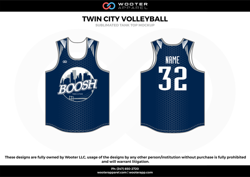 TWIN CITY VOLLEYBALL blue white Volleyball Uniforms, Jerseys, Shorts