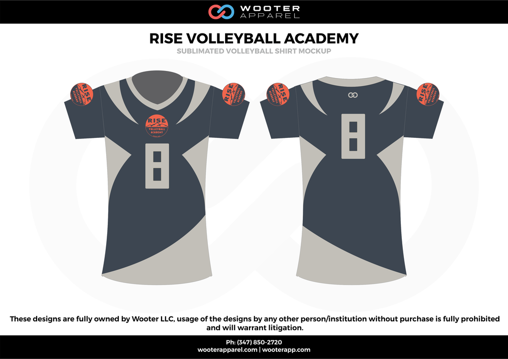 RISE VOLLEYBALL ACADEMY blue gray Volleyball Uniforms, Jerseys, Shorts