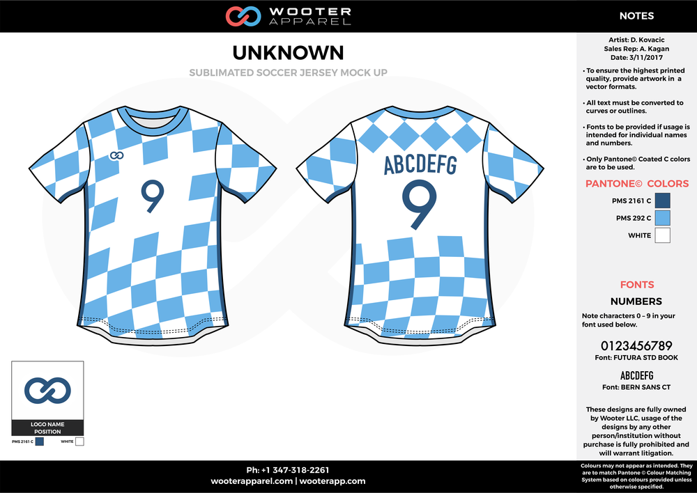 Wooter blue white custom sublimated soccer uniform jersey shirt
