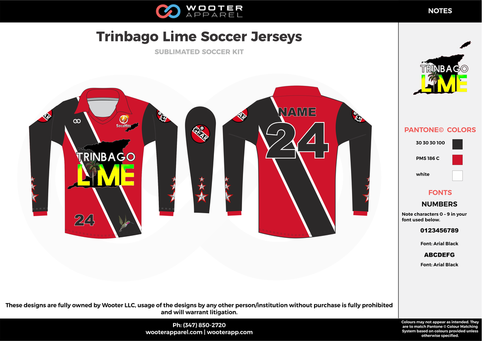 Trinbago lime black red custom sublimated soccer uniform jersey shirt
