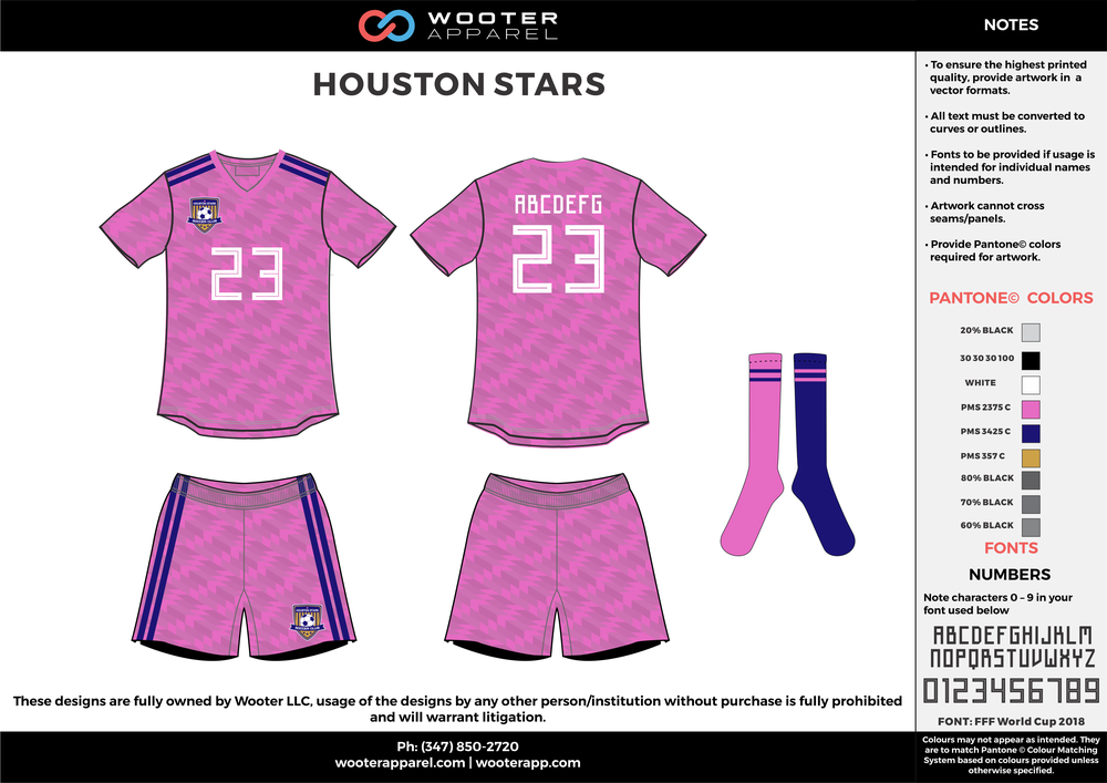 HOUSTON STARS pink blue white gray custom sublimated soccer uniform jersey shirt shorts socks