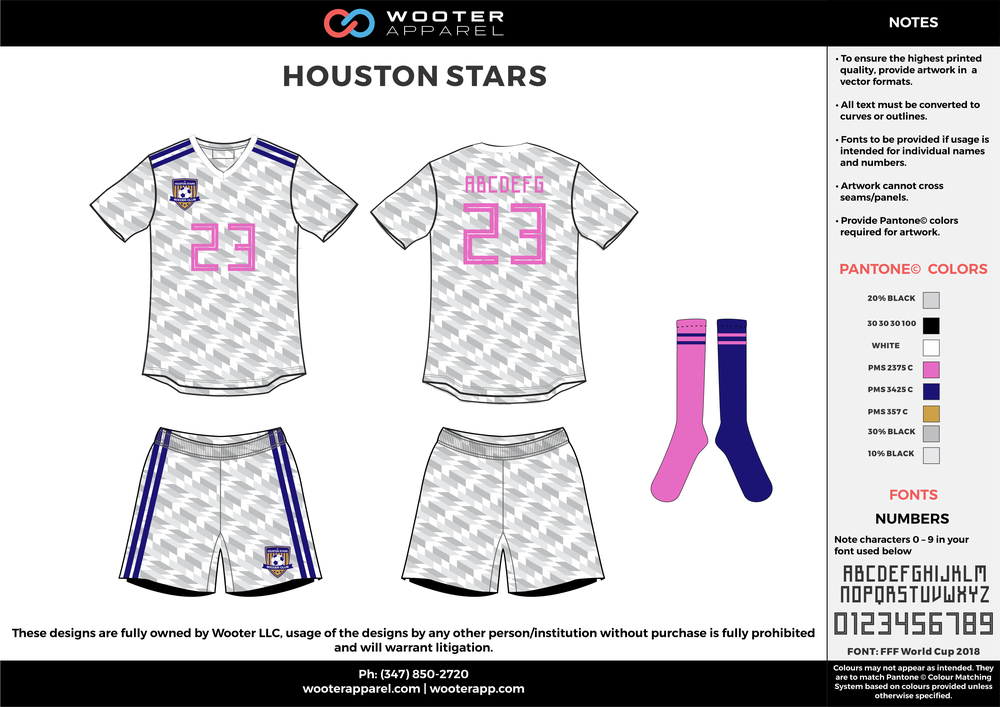 HOUSTON STARS white blue gray pink custom sublimated soccer uniform jersey shirt shorts socks