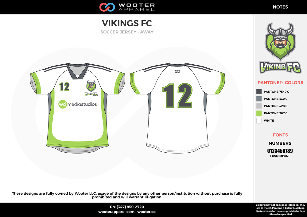 VIKINGS FC gray white green custom sublimated soccer uniform jersey shirt