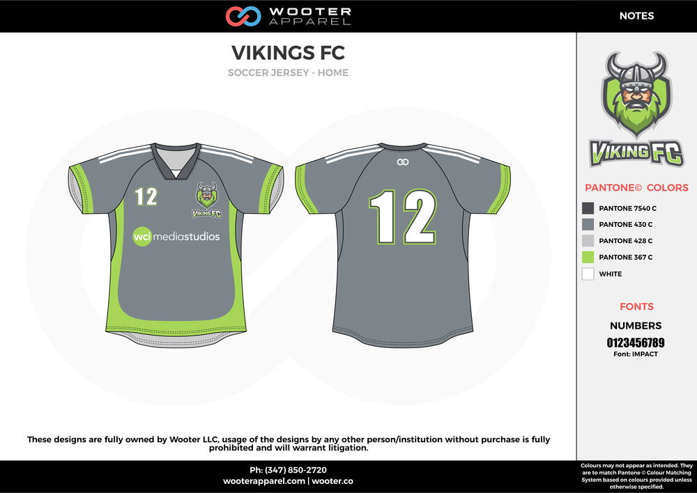 VIKINGS FC gray green white custom sublimated soccer uniform jersey shirt