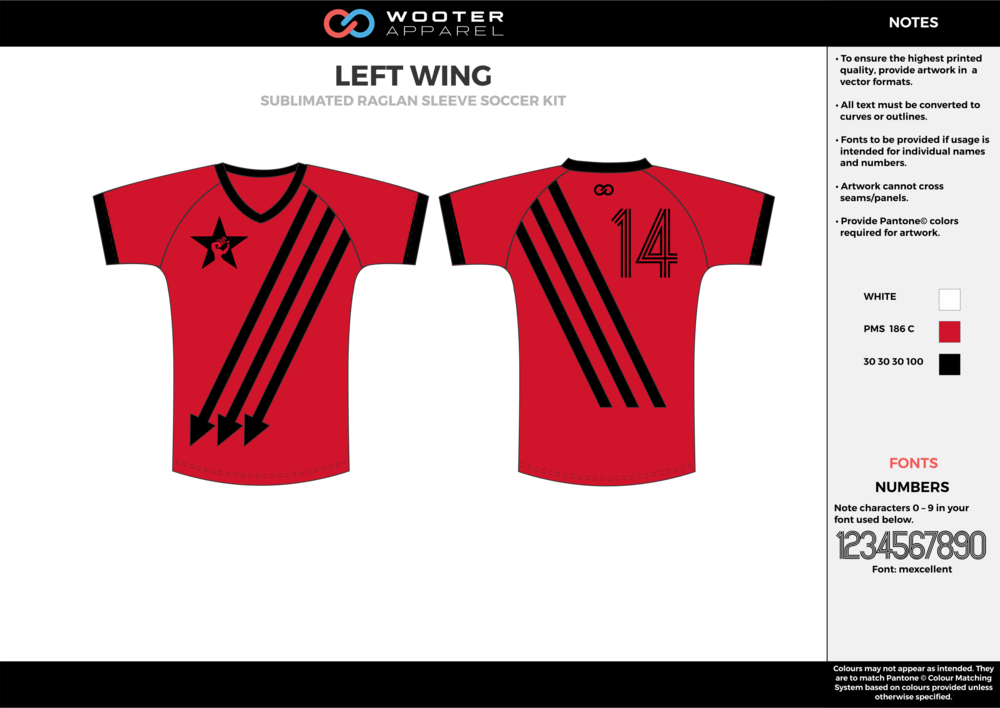 LEFT WING red black custom sublimated soccer uniform jersey shirt