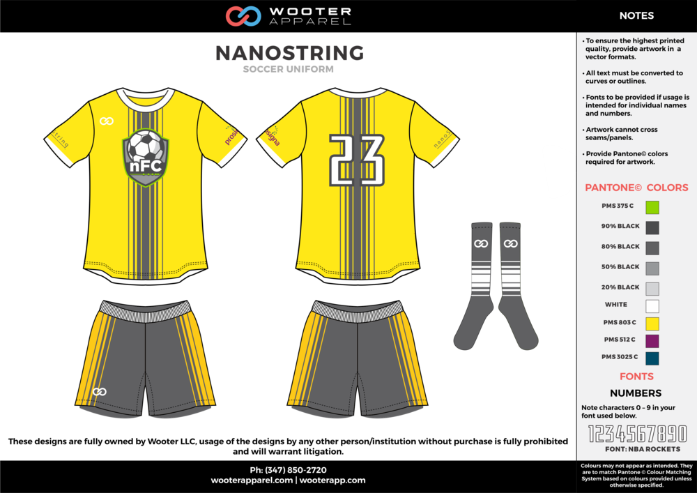 NANOSTRING yellow gray white custom sublimated soccer uniform jersey shirt shorts socks