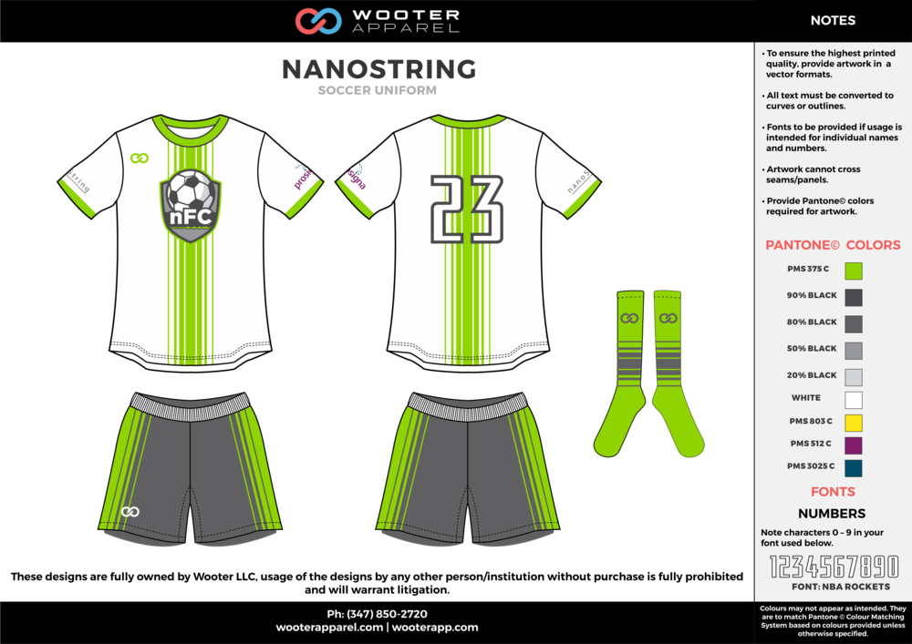 NANOSTRING white green gray custom sublimated soccer uniform jersey shirt shorts socks