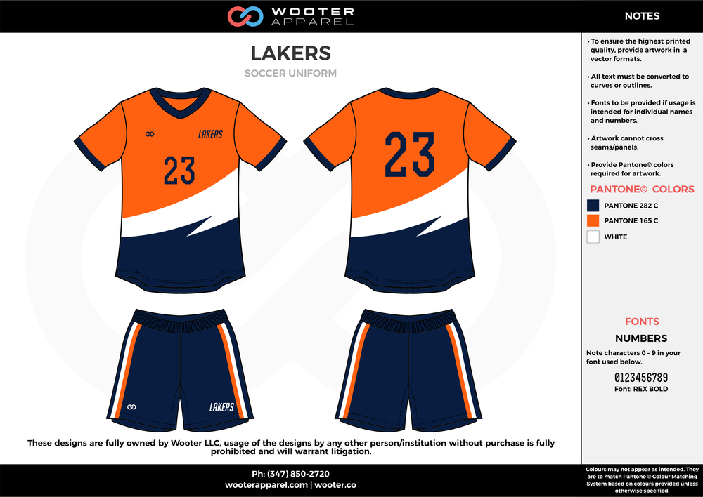 LAKERS orange white navy blue custom sublimated soccer uniform jersey shirt shorts