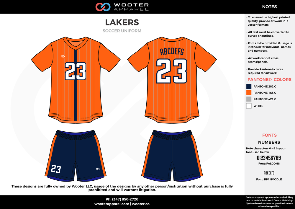 LAKERS orange blue gray custom sublimated soccer uniform jersey shirt shorts