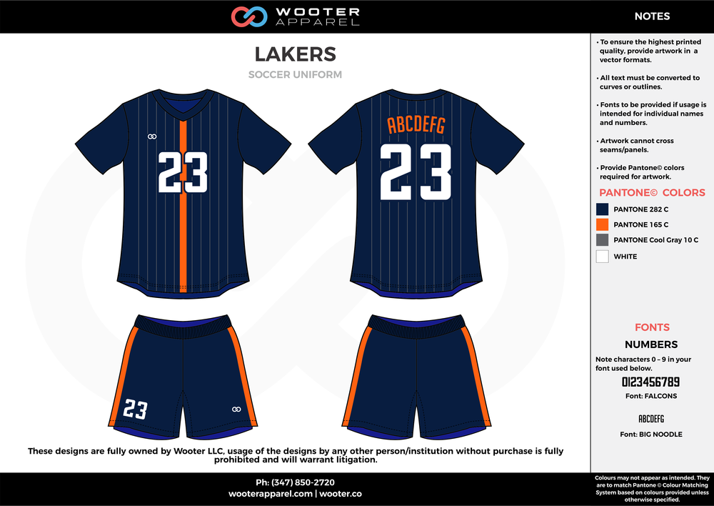 LAKERS blue orange white custom sublimated soccer uniform jersey shirt shorts