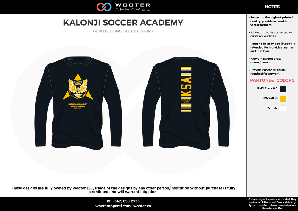 KALONJI SOCCER ACADEMY black yellow white custom sublimated soccer uniform jersey sweatshirt