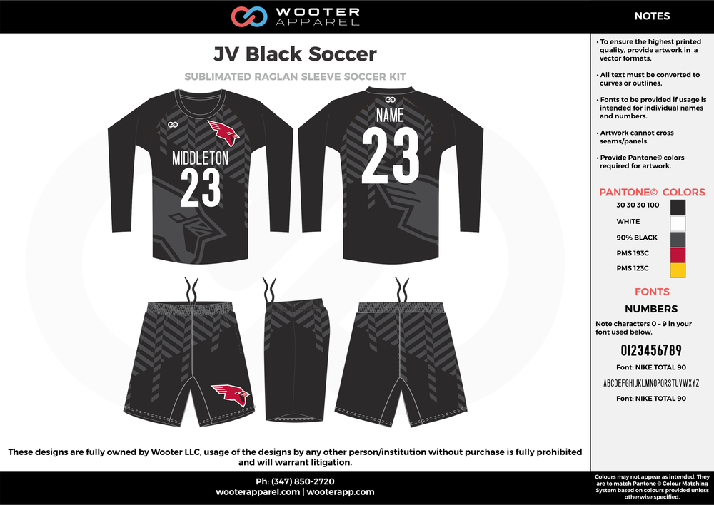 JV Black black gray white custom sublimated soccer uniform jersey sweatshirt shorts