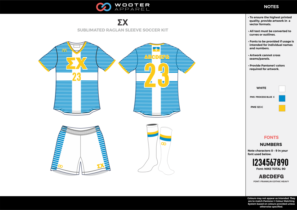 EX blue white yellow custom sublimated soccer uniform jersey shirt shorts socks