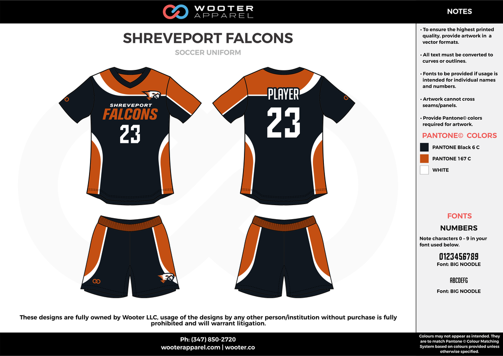 SHREVEPORT FALCONS black white brown custom sublimated soccer uniform jersey shirt shorts