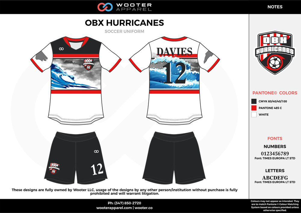 OBX HURRICANES white black red custom sublimated soccer uniform jersey shirt shorts