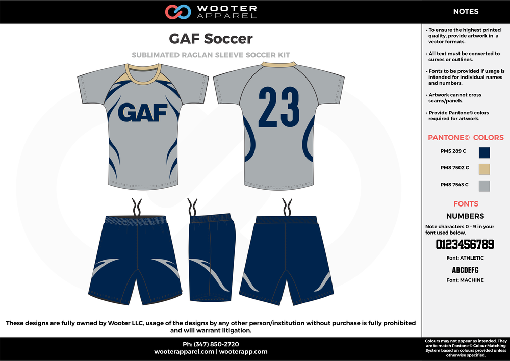 GAF navy blue gray custom sublimated soccer uniform jersey shirt shorts