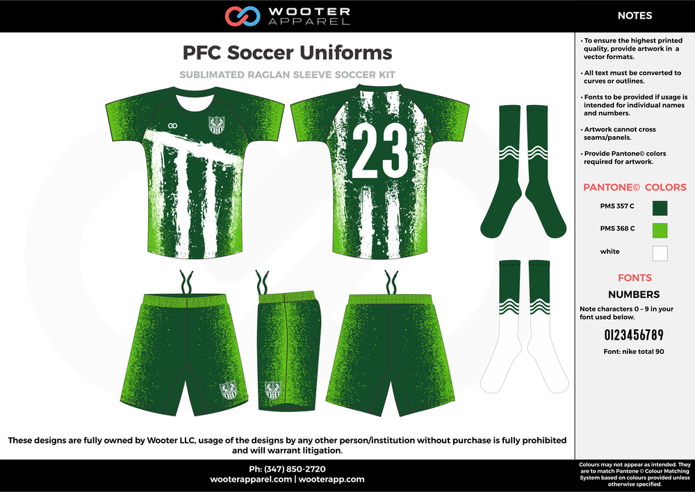 PFC green white custom sublimated soccer uniform jersey shirt shorts socks