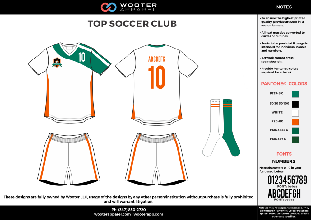 TOP SOCCER CLUB white green orange custom sublimated soccer uniform jersey shirt shorts socks