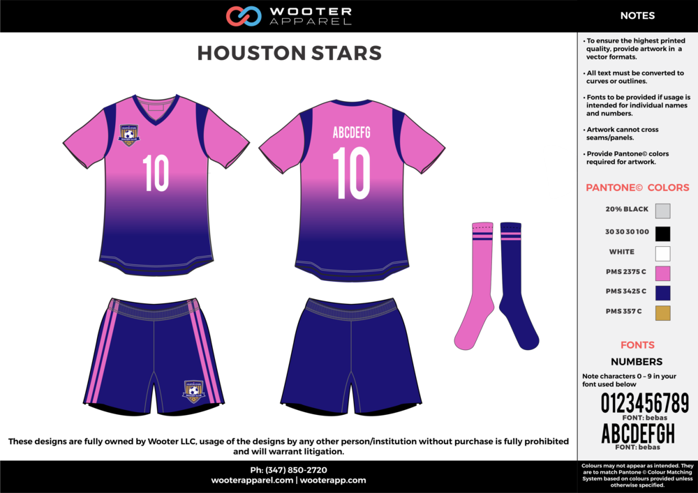 HOUSTON STARS pink blue white custom sublimated soccer uniform jersey shirt shorts socks