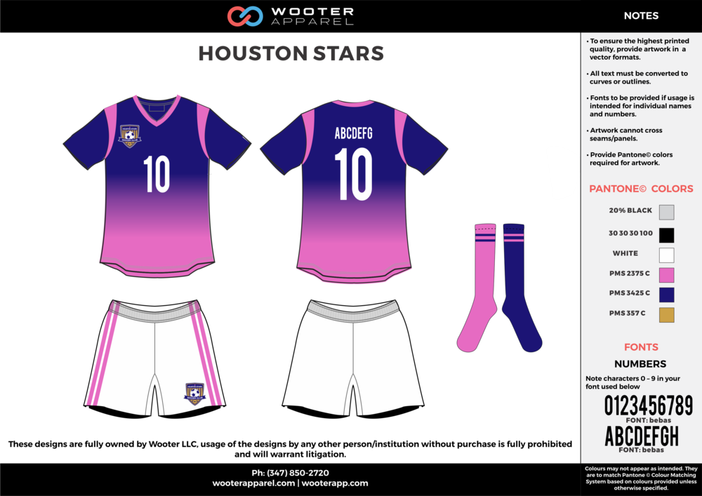 HOUSTON STARS white blue pink custom sublimated soccer uniform jersey shirt shorts socks