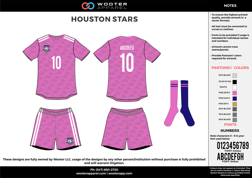 HOUSTON STARS pink white gray custom sublimated soccer uniform jersey shirt shorts socks