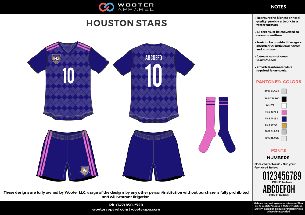 HOUSTON STARS blue gray pink custom sublimated soccer uniform jersey shirt shorts socks