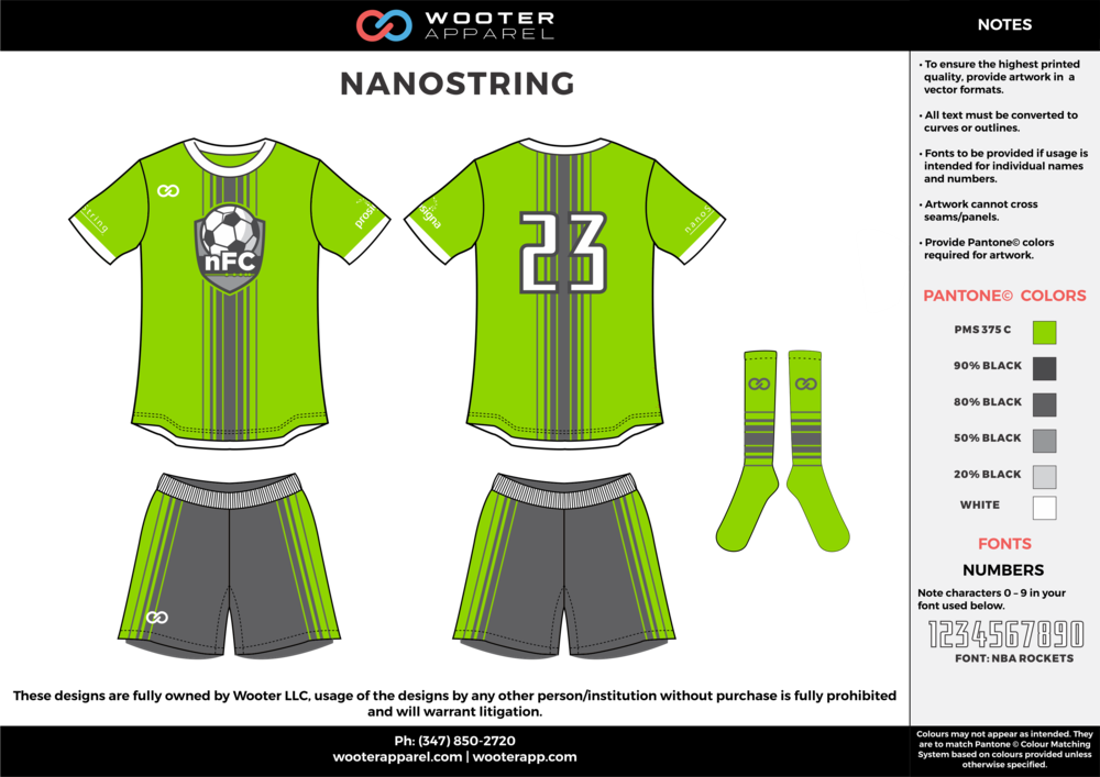 NANOSTRING green gray white custom sublimated soccer uniform jersey shirt shorts socks
