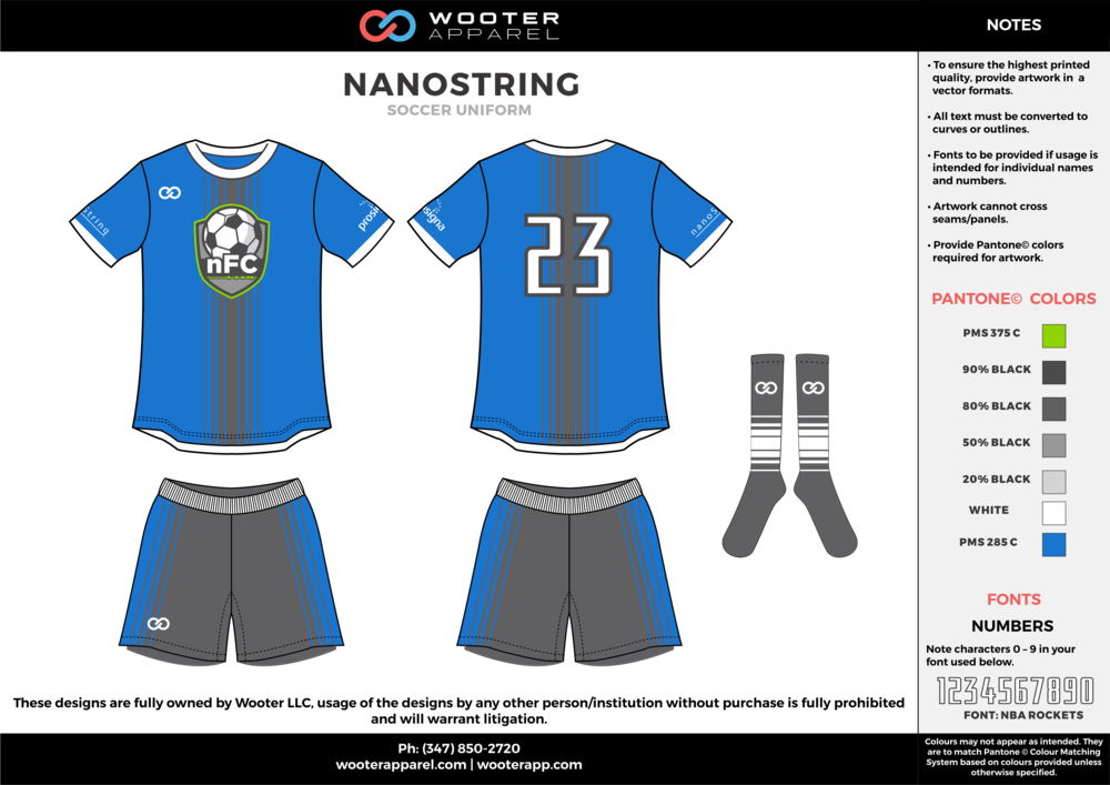 NANOSTRING blue gray white custom sublimated soccer uniform jersey shirt shorts socks