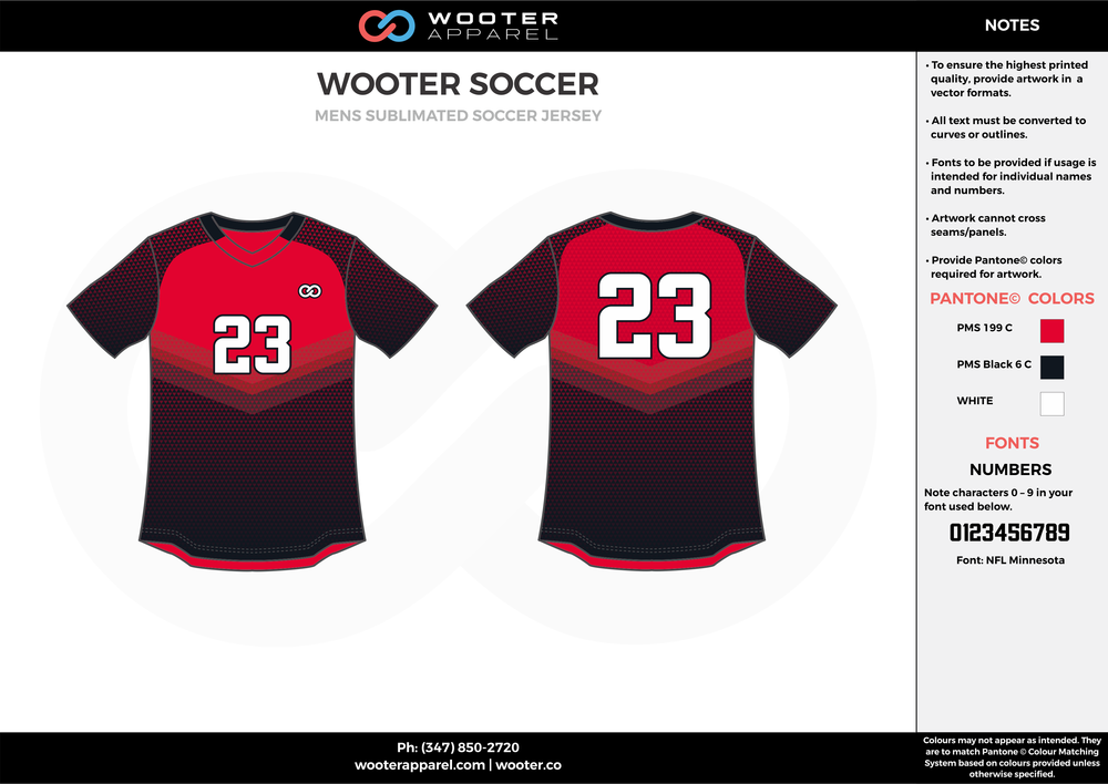 WOOTER red black white custom sublimated soccer uniform jersey shirt